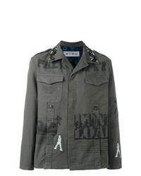 olivgrüne bedruckte Shirtjacke