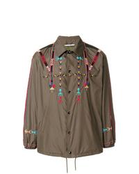 olivgrüne bedruckte Shirtjacke von Valentino
