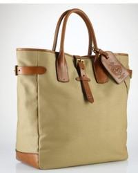 olivgrüne bedruckte Shopper Tasche aus Segeltuch