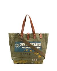 olivgrüne bedruckte Shopper Tasche aus Segeltuch von Polo Ralph Lauren