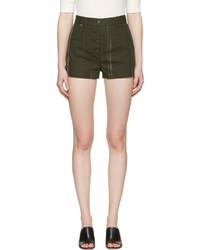 olivgrüne bedruckte Shorts von Proenza Schouler