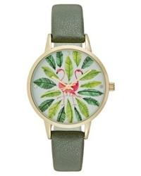 olivgrüne bedruckte Uhr von Even&Odd