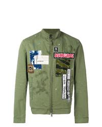 olivgrüne bestickte Bomberjacke von DSQUARED2