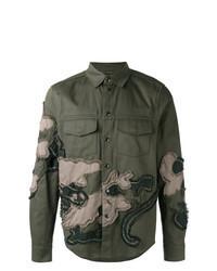 olivgrüne bestickte Shirtjacke