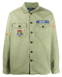 olivgrüne bestickte Shirtjacke von Polo Ralph Lauren