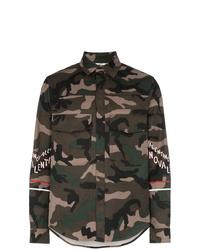 olivgrüne Camouflage Shirtjacke aus Baumwolle von Valentino