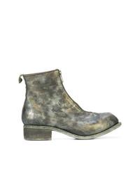 olivgrüne Camouflage Chelsea-Stiefel aus Leder von Guidi