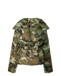 olivgrüne Camouflage Daunenjacke von Norma Kamali