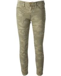 olivgrüne Camouflage enge Jeans