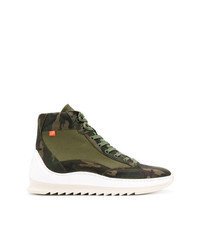 olivgrüne Camouflage hohe Sneakers aus Segeltuch