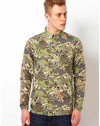 olivgrüne Camouflage Jeansjacke