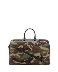olivgrüne Camouflage Leder Reisetasche