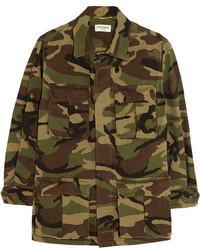 olivgrüne Camouflage Militärjacke von Saint Laurent