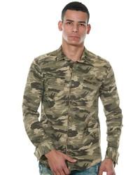 olivgrüne Camouflage Shirtjacke von FIOCEO