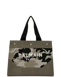 olivgrüne Camouflage Shopper Tasche aus Segeltuch von Balmain