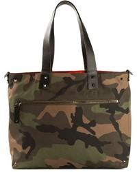 olivgrüne Camouflage Shopper Tasche aus Segeltuch von Valentino Garavani