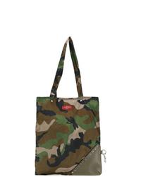 olivgrüne Camouflage Shopper Tasche aus Segeltuch von Valentino