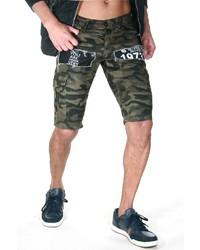 olivgrüne Camouflage Shorts von Bright Jeans