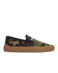 olivgrüne Camouflage Slip-On Sneakers aus Segeltuch