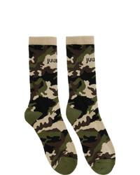 olivgrüne Camouflage Socken von Juun.J
