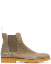 olivgrüne Chelsea-Stiefel aus Leder von Common Projects