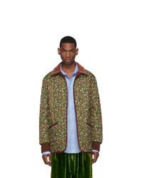 olivgrüne Daunenjacke mit Blumenmuster von Gucci