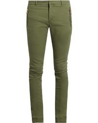 olivgrüne enge Jeans
