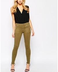 olivgrüne enge Jeans von Oasis