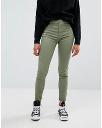 olivgrüne enge Jeans von Pull&Bear