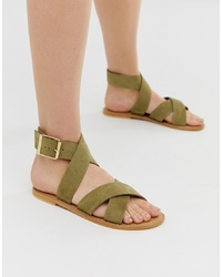 olivgrüne flache Sandalen aus Wildleder von ASOS DESIGN
