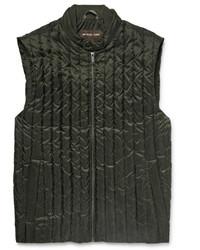 olivgrüne gesteppte ärmellose Jacke von Michael Kors