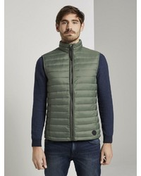 olivgrüne gesteppte ärmellose Jacke von Tom Tailor