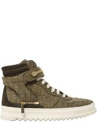 olivgrüne hohe Sneakers aus Leder