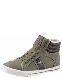 olivgrüne hohe Sneakers aus Leder von HIS JEANS