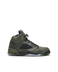 olivgrüne hohe Sneakers aus Leder von Jordan