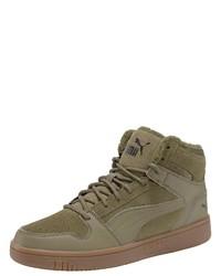 olivgrüne hohe Sneakers aus Leder von Puma
