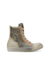 olivgrüne hohe Sneakers aus Leder von Rick Owens