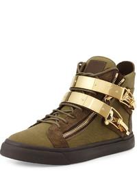 olivgrüne hohe Sneakers aus Segeltuch