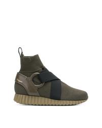 olivgrüne hohe Sneakers aus Segeltuch von Salvatore Ferragamo