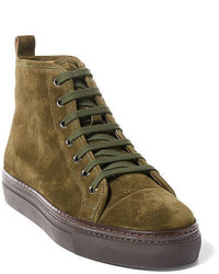olivgrüne hohe Sneakers