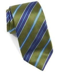 olivgrüne horizontal gestreifte Krawatte