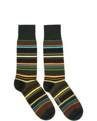 olivgrüne horizontal gestreifte Socken von Paul Smith