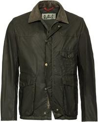 olivgrüne Jacke mit einer Kentkragen und Knöpfen von Barbour