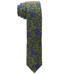 olivgrüne Krawatte mit Blumenmuster