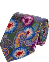 olivgrüne Krawatte mit Paisley-Muster