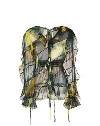 olivgrüne Mit Batikmuster Langarmbluse von Asai