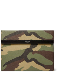 olivgrüne Leder Clutch Handtasche
