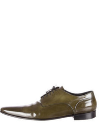 olivgrüne Leder Derby Schuhe