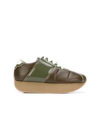 olivgrüne Leder niedrige Sneakers von Marni