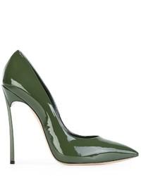 olivgrüne Leder Pumps von Casadei